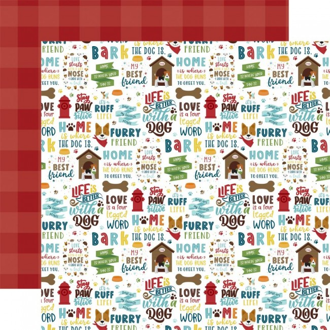 Papel Estampado Doble Cara 12x12 My Dog Stay Paws-