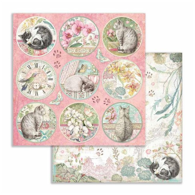 Papel Estampado Doble Cara 12x12 Orchids and Cats