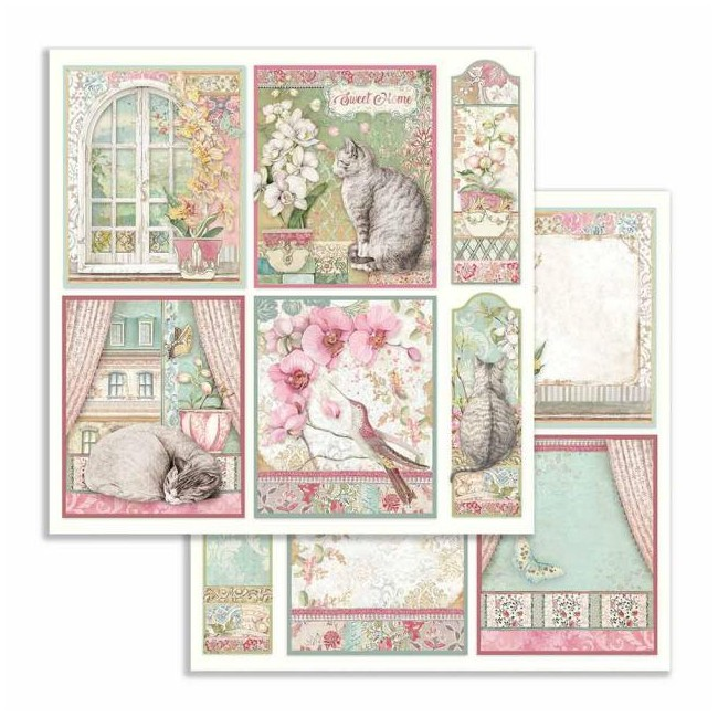 Papel Estampado Doble Cara 12x12 Orchids and Cats Tarjetas