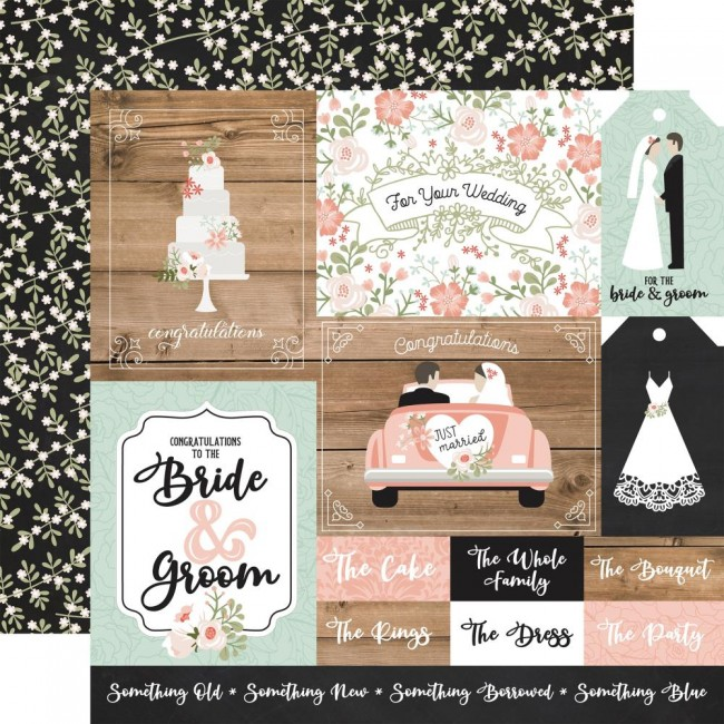 Papel Estampado Doble Cara 12x12 Our Wedding Multi Journaling Cards