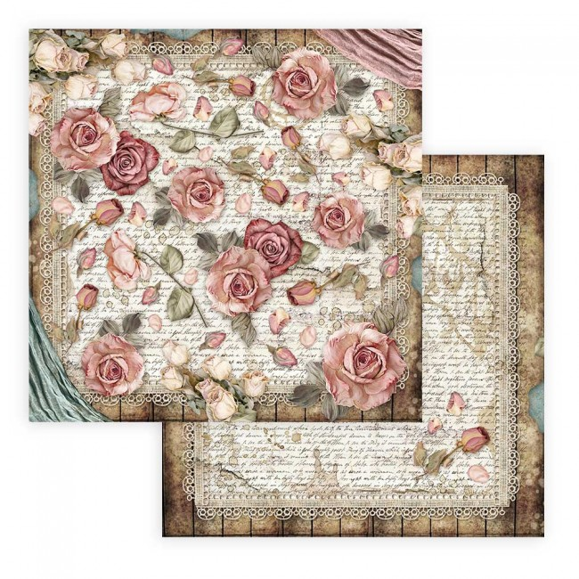 Papel Estampado Doble Cara 12x12 Passion Roses and Laces