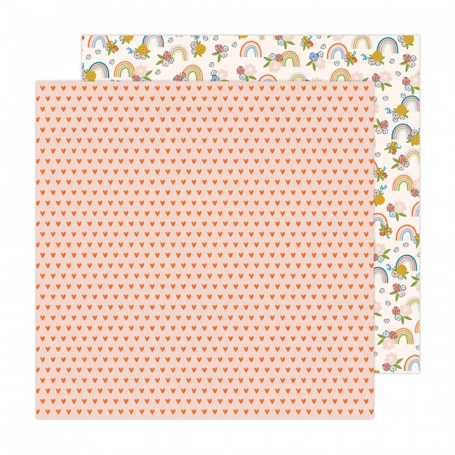 Papel Estampado Doble Cara 12x12 Reaching Out Jen Hadfield Rainbow and Blossoms