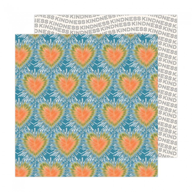 Papel Estampado Doble Cara 12x12 Reaching Out Jen Hadfield Tie Dye Hearts