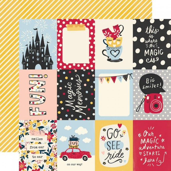 "Papel Estampado Doble Cara 12x12 Say Cheese Main Street 3""X4"" Elements"