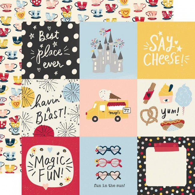 "Papel Estampado Doble Cara 12x12 Say Cheese Main Street 4""X4"" Elements"