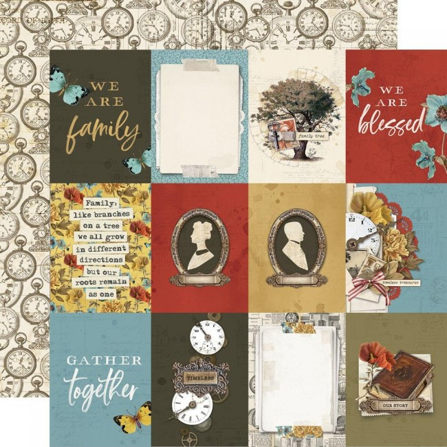 "Papel Estampado Doble Cara 12x12 Simple Vintage Ancestry 3""X4"" Elements"
