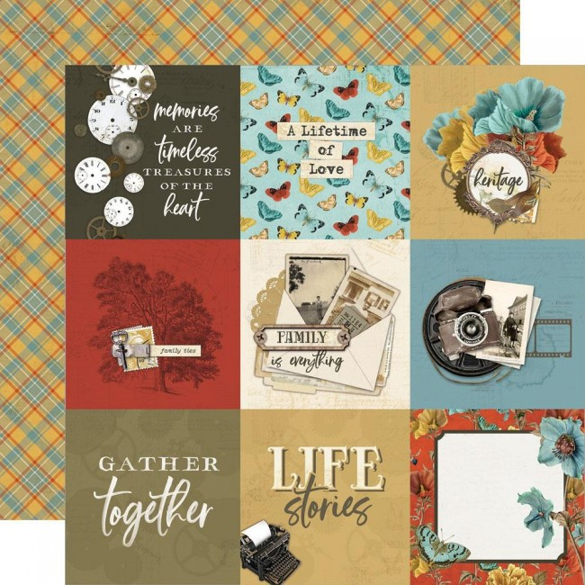 "Papel Estampado Doble Cara 12x12 Simple Vintage Ancestry 4""X4"" Elements"