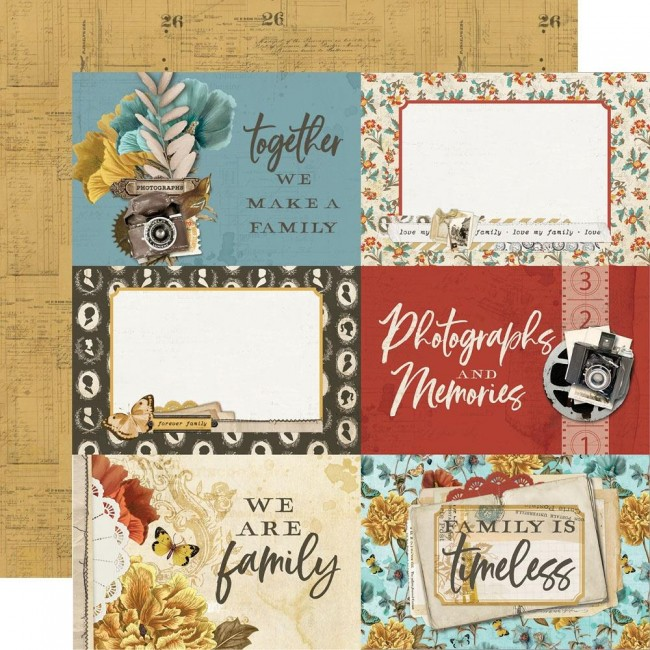 "Papel Estampado Doble Cara 12x12 Simple Vintage Ancestry 4""X6"" Elements"