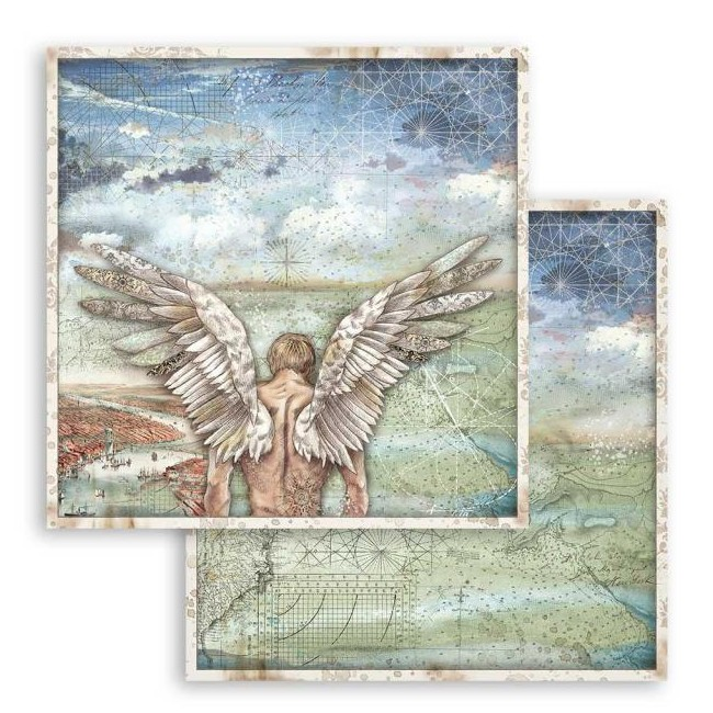 Papel Estampado Doble Cara 12x12 Sir Vagabond Alas