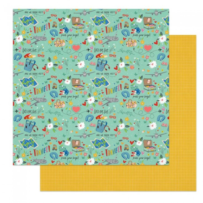 Papel Estampado Doble Cara 12x12 Time to Travel Pack Your Bags