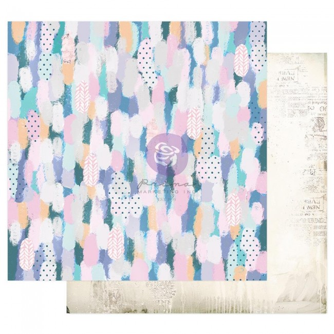 Papel Estampado Doble Cara 12x12 Watercolor Floral Artful Brushstrokes