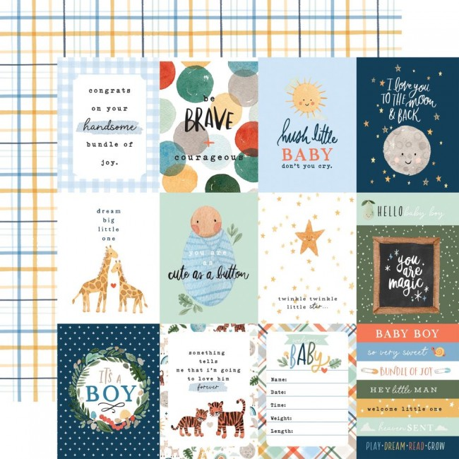 "Papel Estampado Doble Cara 12x12 Welcome Baby Boy 3""X4"" Journaling Cards"