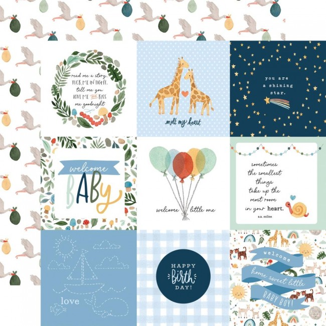 "Papel Estampado Doble Cara 12x12 Welcome Baby Boy 4""X4"" Journaling Cards"