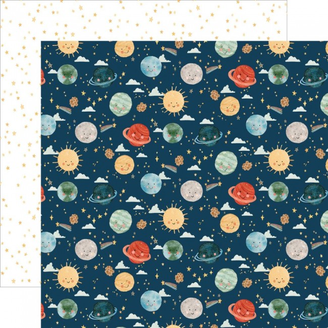 Papel Estampado Doble Cara 12x12 Welcome Baby Boy Planets