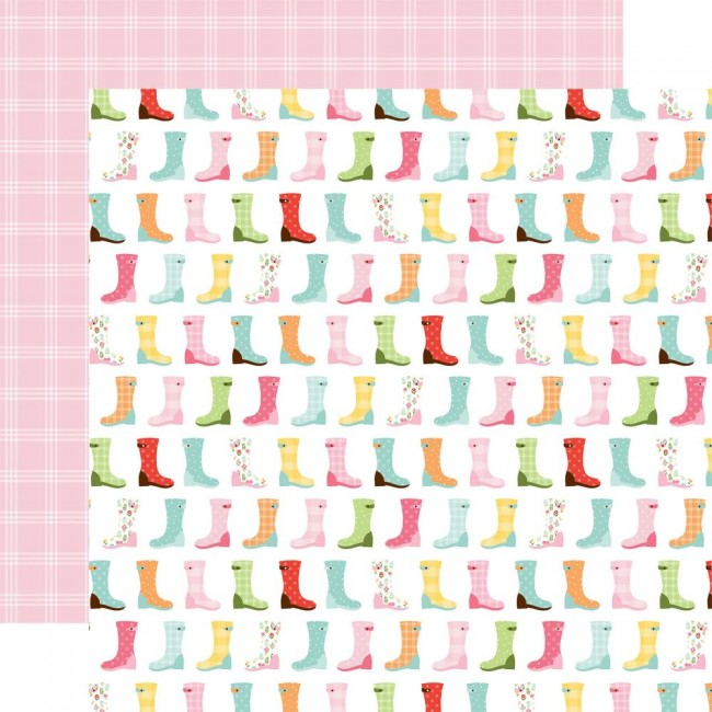 Papel Estampado Doble Cara 12x12 Welcome Spring Rain Boots