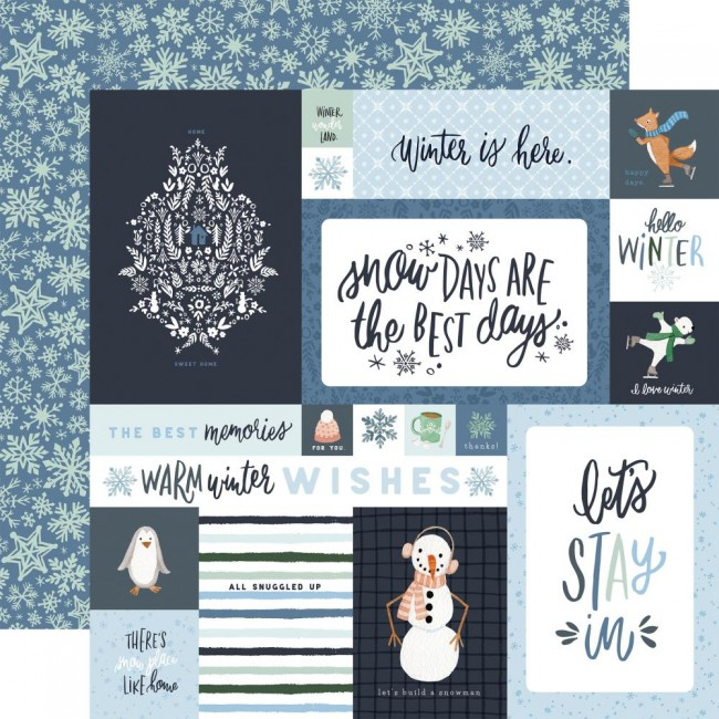 "Papel Estampado Doble Cara 12x12 Winter Market 4""X6"" Journaling Cards"