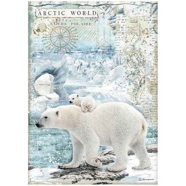 Papel de arroz decoupage A4 Artic Antartic Cristina Radovan Artic World Polar Bears