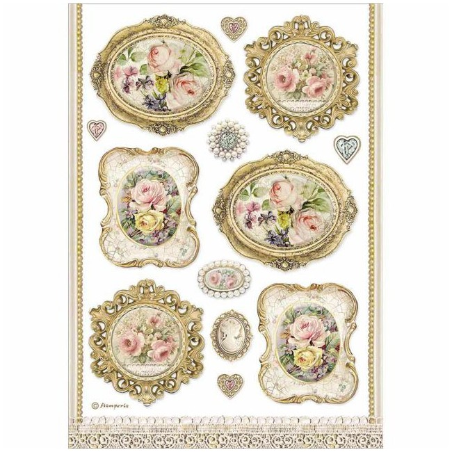 Papel de arroz decoupage A4 Princess ST Frames