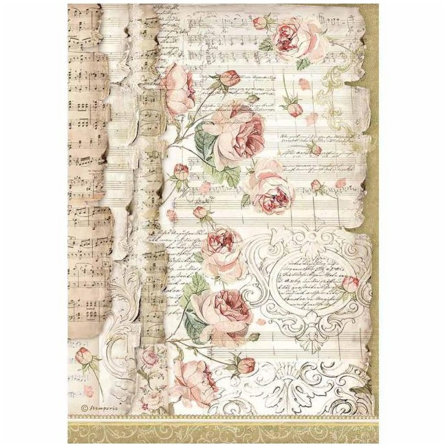 Papel de arroz decoupage A4 Princess ST Roses and Music
