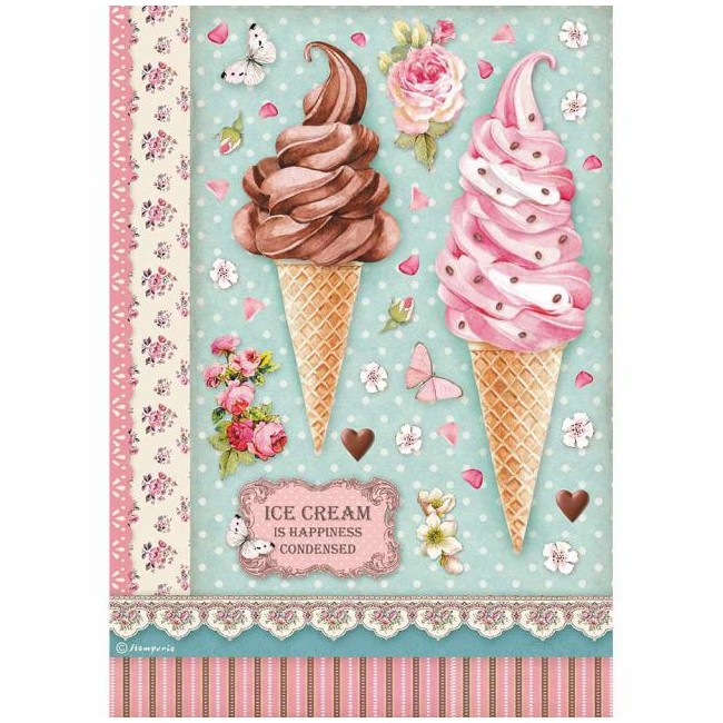 Papel de arroz decoupage A4 Sweety Ice Cream