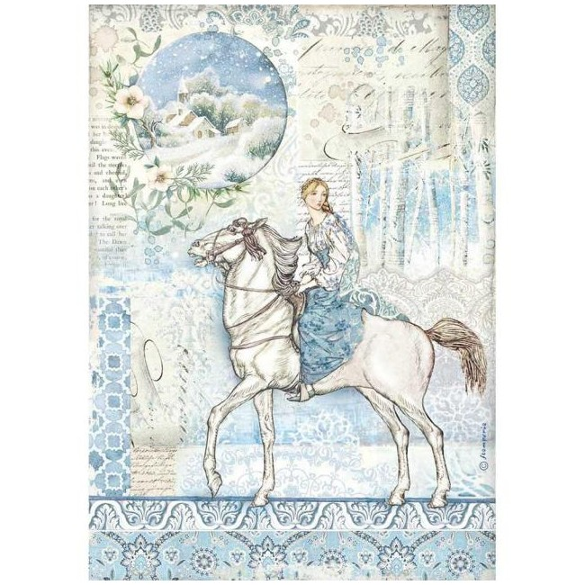 Papel de arroz decoupage A4 Winter Tales Horse