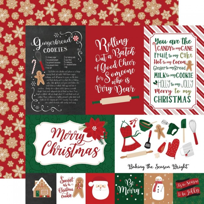 "Papel Estampado Doble Cara 12x12 A Gingerbread Christmas 4""X6"" Journaling Cards"