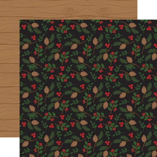 Papel Estampado Doble Cara 12x12 A Lumberjack Christmas Pinecone & Leaves