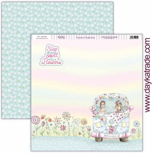 Papel Estampado Doble Cara 12x12 Be Happy Layout Stop and smell the flowers y fondo margaritas