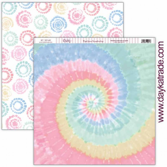 Papel Estampado Doble Cara 12x12 Be Happy Tie Dye pastel