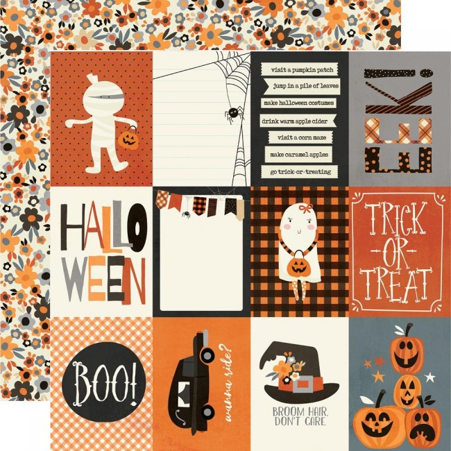 "Papel Estampado Doble Cara 12x12 Boo Crew 3""X4"" Elements"