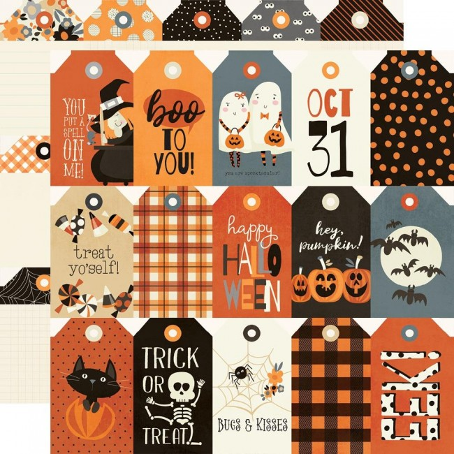 Papel Estampado Doble Cara 12x12 Boo Crew Tags