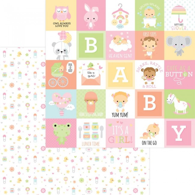 Papel Estampado Doble Cara 12x12 Bundle Of Joy DO Binkies & Bottles