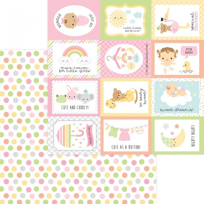 Papel Estampado Doble Cara 12x12 Bundle Of Joy DO Cute As A Button