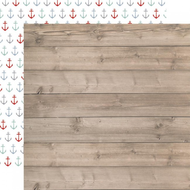Papel Estampado Doble Cara 12x12 By The Sea Beach Woodgrain