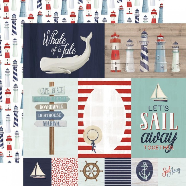 Papel Estampado Doble Cara 12x12 By The Sea Journaling Cards