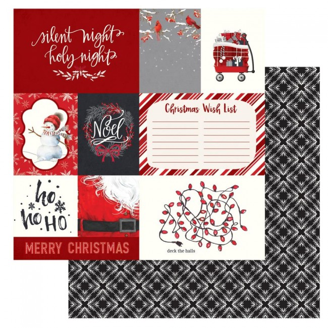 Papel Estampado Doble Cara 12x12 Christmas Cheer Deck The Halls