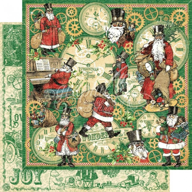 Papel Estampado Doble Cara 12x12 Christmas Time Here Comes Santa Clause