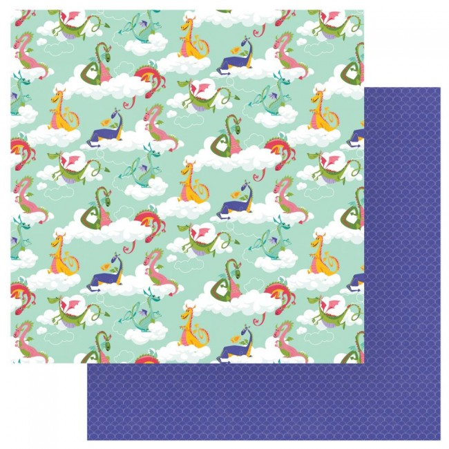 Papel Estampado Doble Cara 12x12 Dragon Dreams Do Not Feed The Dragons