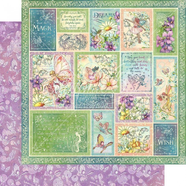 Papel Estampado Doble Cara 12x12 Fairie Wings Butterfly Whimsy
