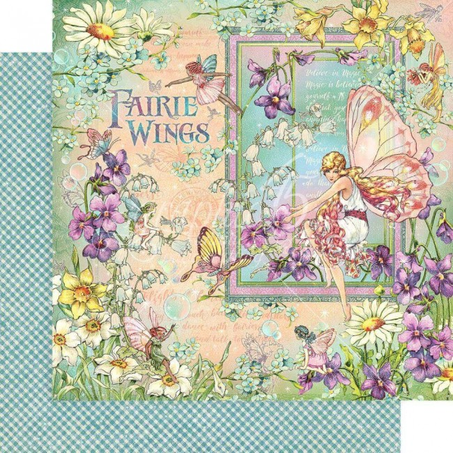 Papel Estampado Doble Cara 12x12 Fairie Wings Fairie Wings