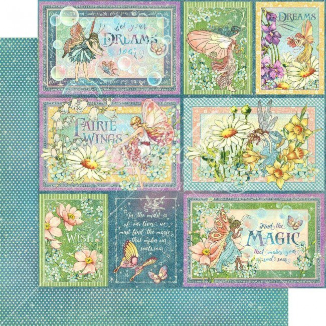 Papel Estampado Doble Cara 12x12 Fairie Wings Rainbow Sparkle