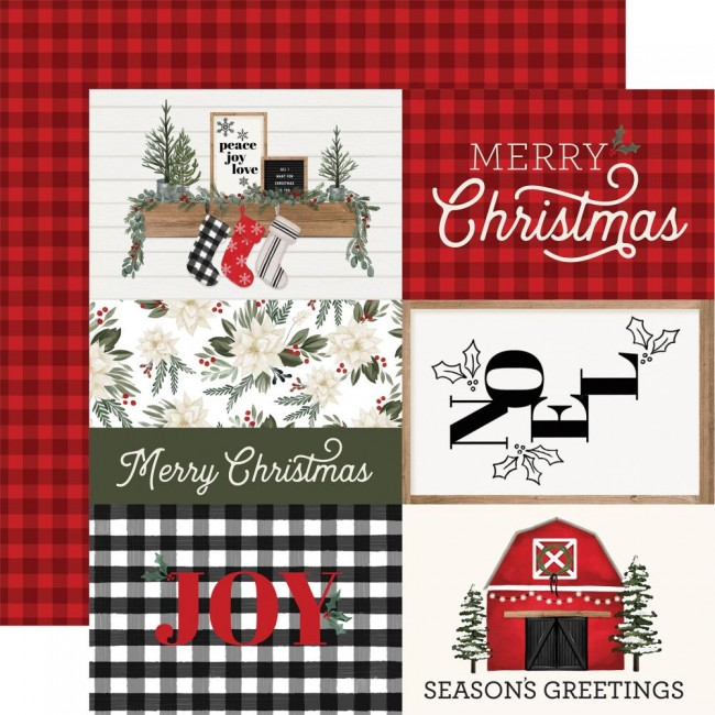 "Papel Estampado Doble Cara 12x12 Farmhouse Christmas 4""X6"" Journaling Cards"