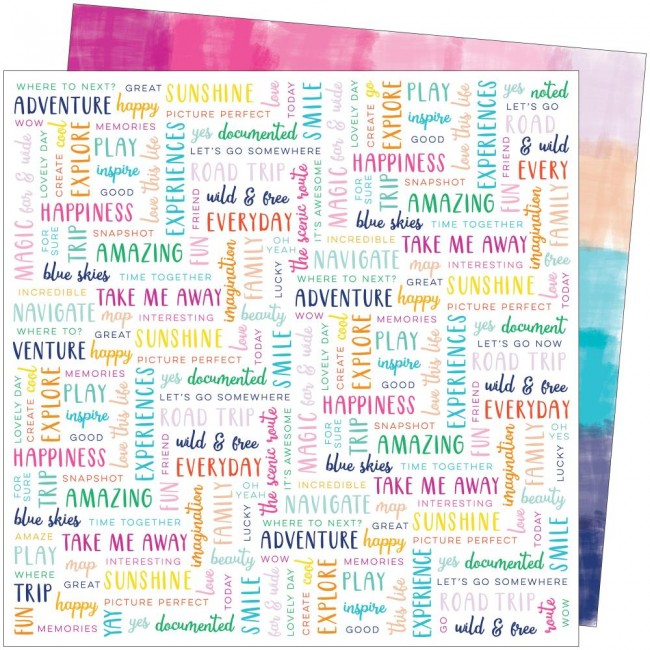 Papel Estampado Doble Cara 12x12 Go To The Scenic Route Paige Evans #21