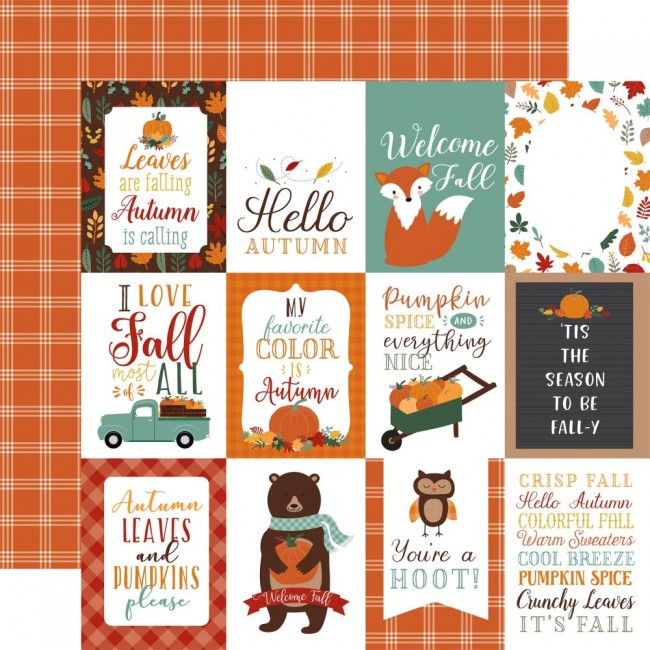"Papel Estampado Doble Cara 12x12 Happy Fall 3""X4"" Journaling Cards"