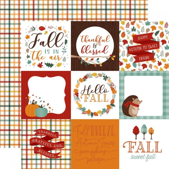 "Papel Estampado Doble Cara 12x12 Happy Fall 4""X4"" Journaling Cards"