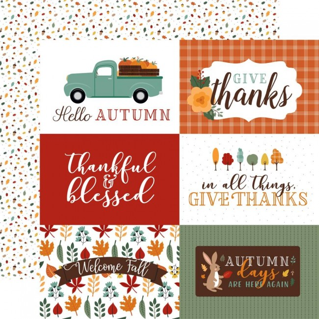 "Papel Estampado Doble Cara 12x12 Happy Fall 6""X4"" Journaling Cards"