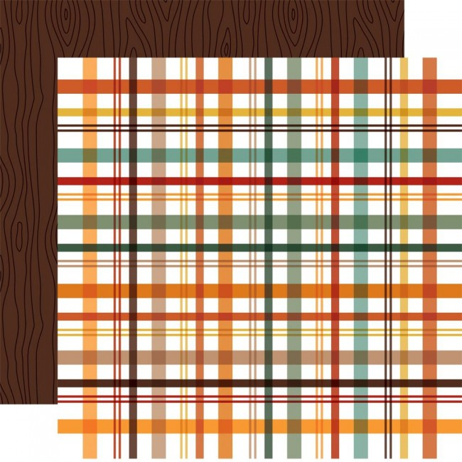 Papel Estampado Doble Cara 12x12 Happy Fall Fall Picnic Plaid