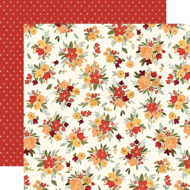 Papel Estampado Doble Cara 12x12 Hello Autumn Fall Floral