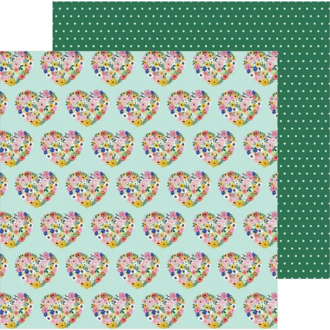 Papel Estampado Doble Cara 12x12 Hey Hello! Jen Hadfield Floral Hearts