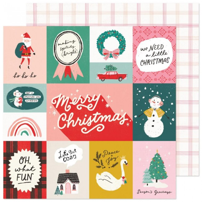Papel Estampado Doble Cara 12x12 Hey Santa Oh What Fun
